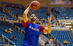 Jan 12, 2016; Morgantown, WV, USA; Kansas Jayhawks forward Perry Ellis (34) warms up prior to their game against the West Virginia Mountaineers at the WVU Coliseum. Mandatory Credit: Ben Queen-USA TODAY Sports