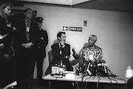 Nelson Mandela gives an impromtu press conference after a social visit to 'Lockerbie Bomber' Abdelbaset Ali Mohmed Al Megrahi,  in Barlinnie Prison,  Glasgow, Scotland, on 10th July 2002.