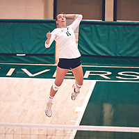 4th year right side hitter, Haley Wagar (11) of the Regina Cougars during the Women's Volleyball pre-season game on Sat Sep 22 at Centre for Kinesiology, Health & Sport. Credit: Arthur Ward/Arthur Images