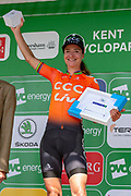 Marianne Vos (NED) riding for CCC-Liv with her stage 2 winners trophy on the podium after  the OVO Energy Women's Tour 2019 at Cyclopark, Gravesend, United Kingdom on 11 June 2019.