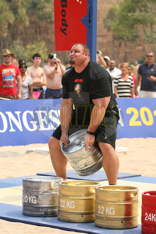 Brian Shaw (USA) in the overhead keg-toss during the final rounds of the World's Strongest Man competition held in Sun City, South Africa.