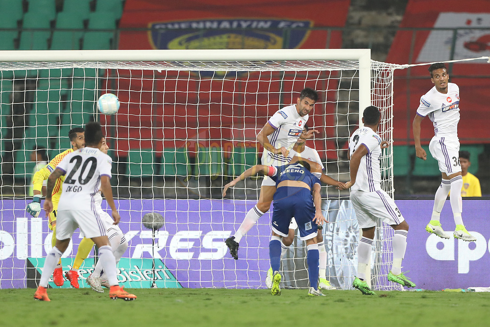 Inigo Calderon  of Chennaiyin FC in action during match 46 of the Hero Indian Super League between Chennaiyin FC and FC Pune City held at the Jawaharlal Nehru Stadium, Chennai India on the 13th January 2018<br /> <br /> Photo by: Arjun Singh  / ISL / SPORTZPICS