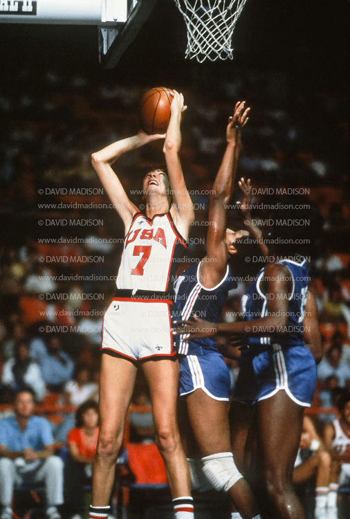 CARACAS, VENEZUELA -  AUGUST 1983:  Anne Donovan #7 of the USA attempts a shot during the Women's Basketball competition of the 1983 Pan American Games held from August 14-27, 1983 in Caracas, Venezuela.  (Photo by David Madison/Getty Images)
