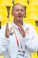 Dariusz Los trainer coach of Justyna Kasprzyk from Poland while women's high jump qualification during the 14th IAAF World Athletics Championships at the Luzhniki stadium in Moscow on August 15, 2013.<br /> <br /> Russian Federation, Moscow, August 15, 2013<br /> <br /> Picture also available in RAW (NEF) or TIFF format on special request.<br /> <br /> For editorial use only. Any commercial or promotional use requires permission.<br /> <br /> Mandatory credit:<br /> Photo by © Adam Nurkiewicz / Mediasport