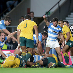 Celebrations of the 1st Argentina Try scored by Matias Alemanno during the The Rugby Championship match between Argentina and Australia at Twickenham Stadium, Twickenham - 08/10/2016<br /> ©Matthew Impey / Wired Photos<br /> Picture by Matt Impey +44 7789 130347
