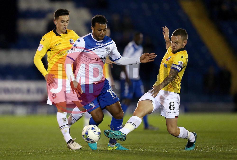 Jay Spearing of Bolton Wanderers tackles Tom Soares of Bury - Mandatory by-line: Robbie Stephenson/JMP - 24/10/2016 - FOOTBALL - Gigg Lane - Bury, England - Bury v Bolton Wanderers - Sky Bet League One