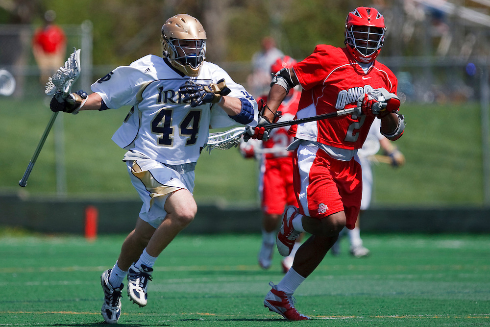 May 3, 2009:  #44 Peter Christman of Notre Dame and #2 Bryce Woodson of Ohio State in action during the NCAA Lacrosse game between Notre Dame and Ohio State at GWLL Tournament in Birmingham, Michigan. Notre Dame defeated OSU 16-7. (Credit Image: Rick Osentoski/Cal Sport Media)
