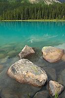 Turquoise colored Chephren Lake, Banff National Park Alberta Canada