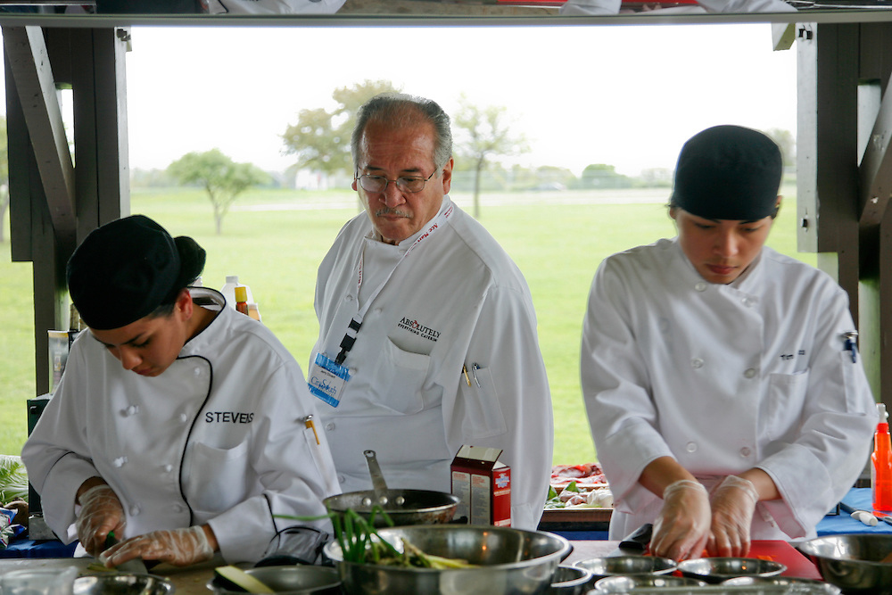 High school students from some of San Antonio's high school culinary programs compete for St. Philip's College Culinary School scholarships during the City South Festival Culinary Competition, held at Brooks City-Base, Texas on March 25, 2007.  Judging was performed by chefs from the San Antonio Chapter of the Texas Chefs Association.  (Photos/Lance Cheung) ..PHOTO COPYRIGHT 2007 LANCE CHEUNG.This photograph is NOT within the public domain..This photograph is not to be downloaded, stored, manipulated, printed or distributed with out the written permission from the photographer. .This photograph is protected under domestic and international laws.