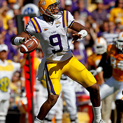 Oct 2, 2010; Baton Rouge, LA, USA; LSU Tigers quarterback Jordan Jefferson (9) throws a pass against the Tennessee Volunteers during the first quarter at Tiger Stadium. LSU defeated Tennessee 16-14.  Mandatory Credit: Derick E. Hingle