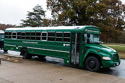 Green bus to transport visitors to cave entrances, Mammoth Cave National Park, Kentucky, United States of America