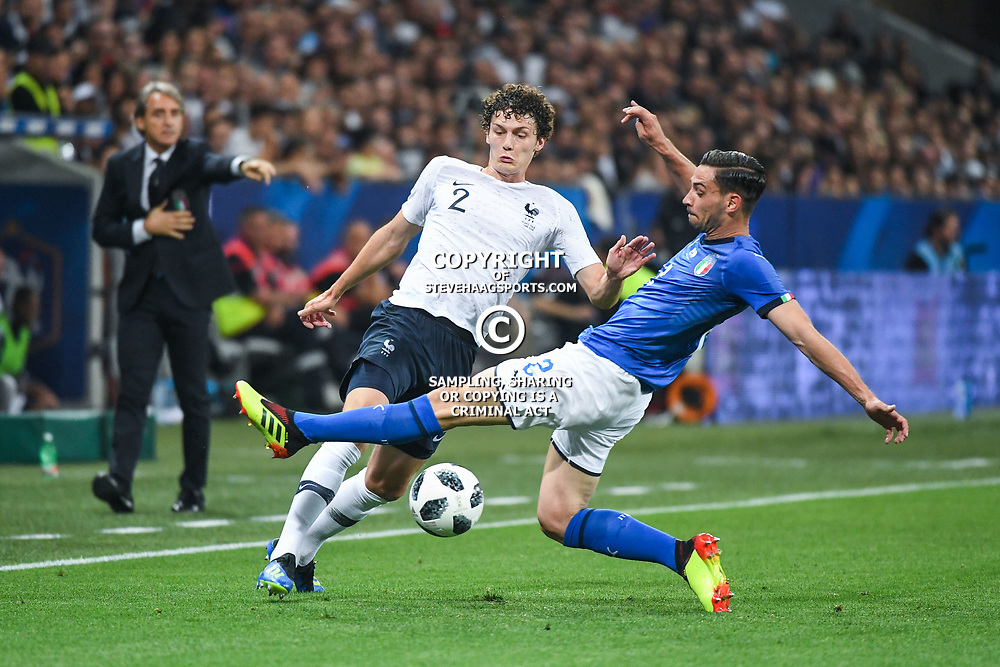 Mattia De Sciglio of Italy and Benjamin Pavard of France during the International Friendly match between France and Italy at Allianz Riviera Stadium on June 1, 2018 in Nice, France. (Photo by Anthony Dibon/Icon Sport)