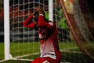 Moses Odubajo of Leyton Orient holds his head in his hands after missing a good chance to put Leyton Orient ahead during the Sky Bet League 1 match at the Matchroom Stadium, London<br /> Picture by David Horn/Focus Images Ltd +44 7545 970036<br /> 25/03/2014