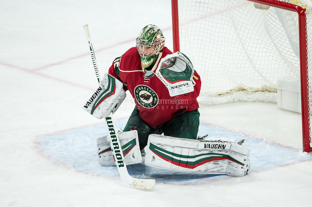 Dec 17, 2016; Saint Paul, MN, USA; Minnesota Wild goalie Darcy Kuemper (35) against the Arizona Coyotes at Xcel Energy Center. The Wild defeated the Coyotes 4-1. Mandatory Credit: Brace Hemmelgarn-USA TODAY Sports