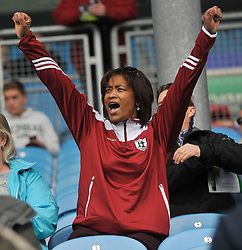 Shea Benson's Mum, Analise celebrates as Balla score  towards the end of the game.<br />Pic Conor McKeown