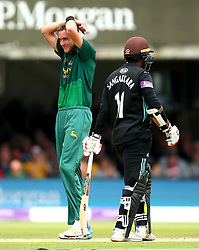 Stuart Broad of Nottinghamshire cuts a frustrated figure as he nearly claims the wicket of Kumar Sangakkara of Surrey - Mandatory by-line: Robbie Stephenson/JMP - 01/07/2017 - CRICKET - Lord's Cricket Ground - London, United Kingdom - Nottinghamshire v Surrey - Royal London One-Day Cup Final 2017