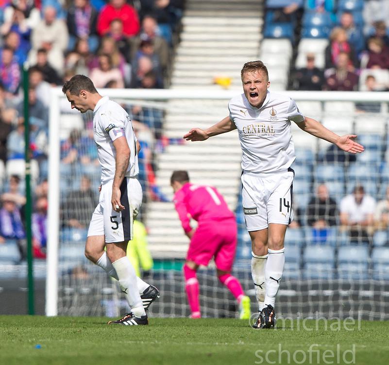 Falkirk's Peter Grant celebrates after scoring their goal. Falkirk 1 v 2 Inverness CT, Scottish Cup final at Hampden.