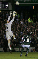 Photo: Lee Earle.<br /> Plymouth Argyle v Watford. The FA Cup. 11/03/2007.Watford keeper Ben Foster (L) saves from Sylvan Ebanks-Blake.
