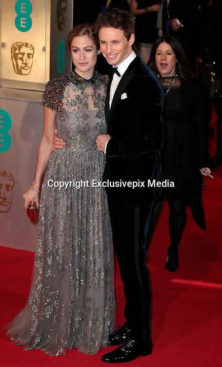 Feb 8, 2015 - EE British Academy Film Awards 2015 - Red Carpet Arrivals at Royal Opera House<br /> <br /> Pictured: Eddie Redmayne and Hannah Bagshawe<br /> ©Exclusivepix Media