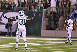 Sept 13, 2011; East Rutherford, NJ, USA; New York Jets cornerback Antonio Cromartie (31) complains to the official about a holding call during the second half at the New Meadowlands Stadium.  The Ravens defeated the Jets 10-9.