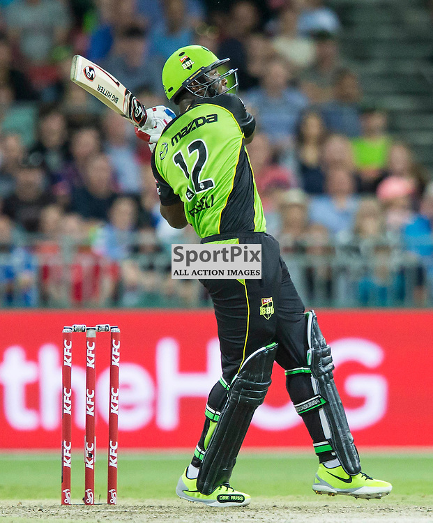 KFC Big Bash League T20 2015-16 , Sydney Thunder v Perth Scorchers, Spotless Stadium; 7 January 2016<br /> Sydney Thunder Andre Russell another six.