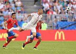 SAMARA, June 17, 2018  Aleksandar Kolarov (C) of Serbia competes during a group E match between Costa Rica and Serbia at the 2018 FIFA World Cup in Samara, Russia, June 17, 2018. Serbia won 1-0. (Credit Image: © Fei Maohua/Xinhua via ZUMA Wire)