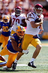 BERKELEY, CA - SEPTEMBER 23:  Quarterback Sam Darnold #14 of the USC Trojans is tackled by linebacker Devante Downs #1 of the California Golden Bears during the first quarter at California Memorial Stadium on September 23, 2017 in Berkeley, California. (Photo by Jason O. Watson/Getty Images) *** Local Caption *** Sam Darnold; Devante Downs