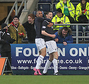 Philip Roberts congratulates Conor McGrandles on his goal - Falkirk v Dundee, SPFL Championship at <br /> Falkirk Stadium<br />  - &copy; David Young - www.davidyoungphoto.co.uk - email: davidyoungphoto@gmail.com