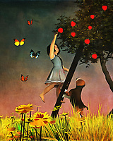Picking apples is a fantastic way to spend a warm day in the great outdoors. Amy and her adorable beagle Buddy are picking apples together. They are surrounded by butterflies, and many other things one comes to associate with the perfect day. These two inseparable best friends are going to take their time picking these apples. What happens after this is anyone's guess, but we can be sure the apples will be put to good use! This art piece features lush, deep colors that are certain to spark some of your fondest memories. Available as t-shirts, wall art, or in the form of interior products.