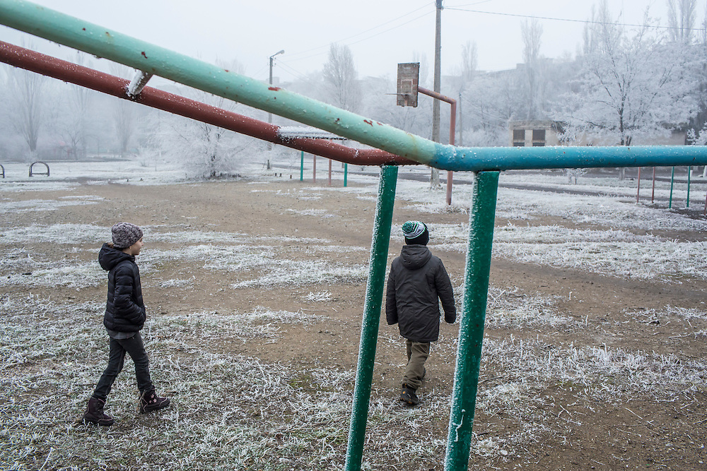 Students on the school athletic field on Saturday, December 12, 2015 in Zolote, Ukraine.