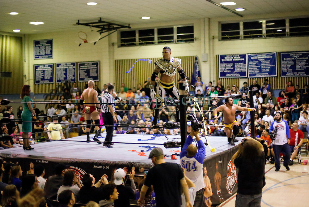 12 March 2016. Metairie, Louisiana.<br /> Wrestling action from Wildkat Sports and Entertainment's 'March into Mayhem' at the Meisler Middle School. Alex Cruz and &lsquo;Mr. Xcellence&rsquo; Brandon Scott defeat &lsquo;Chalmation Sensation&rsquo; Danny Flamingo and Ken Dixon<br /> Photo&copy;; Charlie Varley/varleypix.com