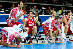 Players of Russia celebrate during basketball game between National basketball teams of F.Y.R. of Macedonia and Russia of 3rd place game of FIBA Europe Eurobasket Lithuania 2011, on September 18, 2011, in Arena Zalgirio, Kaunas, Lithuania. Russia defeated Macedonia 72-68 and won bronze medal. (Photo by Vid Ponikvar / Sportida)