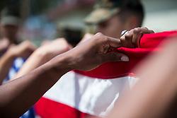 May 22, 2019 - Camp Pendleton, California, U.S. - Marines fold an American flag during honor guard practice at Marine Corps Base Camp Pendleton, Calif., May 22, 2019. (Credit Image: © U.S.Marines/ZUMA Wire/ZUMAPRESS.com)