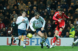PRESTON, ENGLAND - Saturday, January 3, 2009: Liverpool's Albert Riera scores the opening goal against Preston North End during the FA Cup 3rd Round match at Deepdale. (Photo by David Rawcliffe/Propaganda)