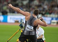 Athletics - 2017 IAAF London World Athletics Championships - Day Three, Evening Session<br /> <br /> Mens Shot Putt Final <br /> <br /> Thomas Walsh (New Zealand) Gold medalist at the London Stadium<br /> <br /> COLORSPORT/DANIEL BEARHAM