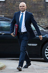 London, UK. 8th January, 2019. Sajid Javid MP, Secretary of State for the Home Department, arrives at 10 Downing Street for the first Cabinet meeting since the Christmas recess.