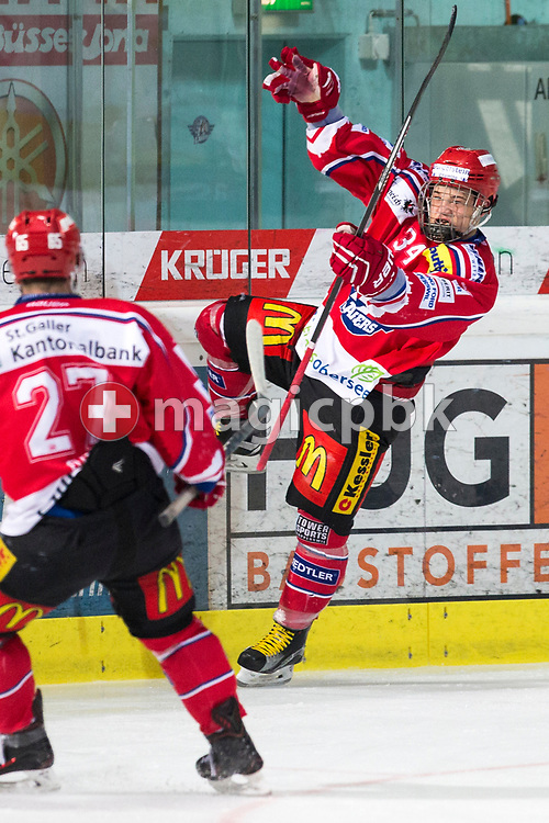 Rapperswil-Jona Lakers defenseman Janis Egger celebrates after scoring to the final score of 5-0 during the third Elite B Playoff Final ice hockey game between Rapperswil-Jona Lakers and ZSC Lions held at the SGKB Arena in Rapperswil, Switzerland, Wednesday, Mar. 15, 2017. (Photo by Patrick B. Kraemer / MAGICPBK)