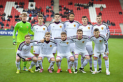 LIVERPOOL, ENGLAND - Tuesday, December 9, 2014: FC Basel players players line up for a team group photograph before the UEFA Youth League Group B match against Liverpool at Langtree Park. (Pic by David Rawcliffe/Propaganda)