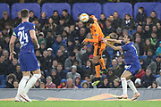 Amr Warda of PAOK FC (74) winning header during the Champions League group stage match between Chelsea and PAOK Salonica at Stamford Bridge, London, England on 29 November 2018.