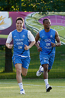 FOOTBALL - UEFA EURO 2012 - KIRCHA - UKRAINE - GROUP STAGE - GROUP D - FRANCE TRAINING - 12/06/2012 - PHOTO PHILIPPE LAURENSON / DPPI - KIRSHA TRAINING CENTER -      FRENCH PLAYERS - SAMIR NASRI AND PATRICE EVRA