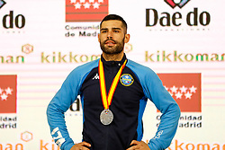 November 10, 2018 - Madrid, Madrid, Spain - Busa Luigi (ITA) win the silver medal and the second place of the tournament of male Kumite -75 Kg during the Finals of Karate World Championship celebrates in Wizink Center, Madrid, Spain, on November 10th, 2018. (Credit Image: © AFP7 via ZUMA Wire)