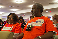 Feb. 25, 2013 - Mineola, New York, U.S. - L to R, EUNICE REDD and JOE LOUIS BROWN of Hempstead, are members of the New York Community for Change organization attending Nassau County Legislature meeting to show they are against the controversial Redistricting Map proposed by Republicans. The legislature postponed the vote on the map shortly before 1 AM the morning of February 26, nearly 12 hours after the meeting started on 1:30 PM Feb. 25.