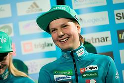 Ema Klinec during press conference of Slovenian Men and Woman national Ski Jumping team, on November 28, 2017 in Pivovarna Union, Ljubljana, Slovenia. Photo by Ziga Zupan / Sportida