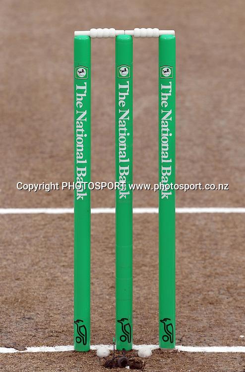 Wickets and bails. New Zealand Black Caps v Pakistan, Match 2. Twenty 20 Cricket match at Seddon Park, Hamilton, New Zealand. Tuesday 28 December 2010. Photo: Andrew Cornaga/photosport.co.nz