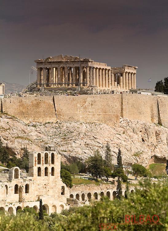 Acropolis with the Parthenon on top from Filopapou hill.<br /> Athens, Greece, Europe.
