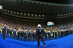 Police watching the fans of Croatia after the UEFA EURO 2008 Quarter-Final soccer match between Croatia and Turkey at Ernst-Happel Stadium, on June 20,2008, in Wien, Austria.  Won of Turkey after penalty shots. (Photo by Vid Ponikvar / Sportal Images)