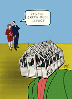 "Two people are walking and see a man with a greenhouse for a head. One says to the other, ""It's the greenhouse effect"".  Comic satire on the topic of global climate change."