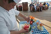 Similan Islands. Star Flyer anchoring at Ko Miang. Food carving demonstration.
