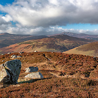 Mountains of County Wicklow, Ireland, on a very windy and cold day