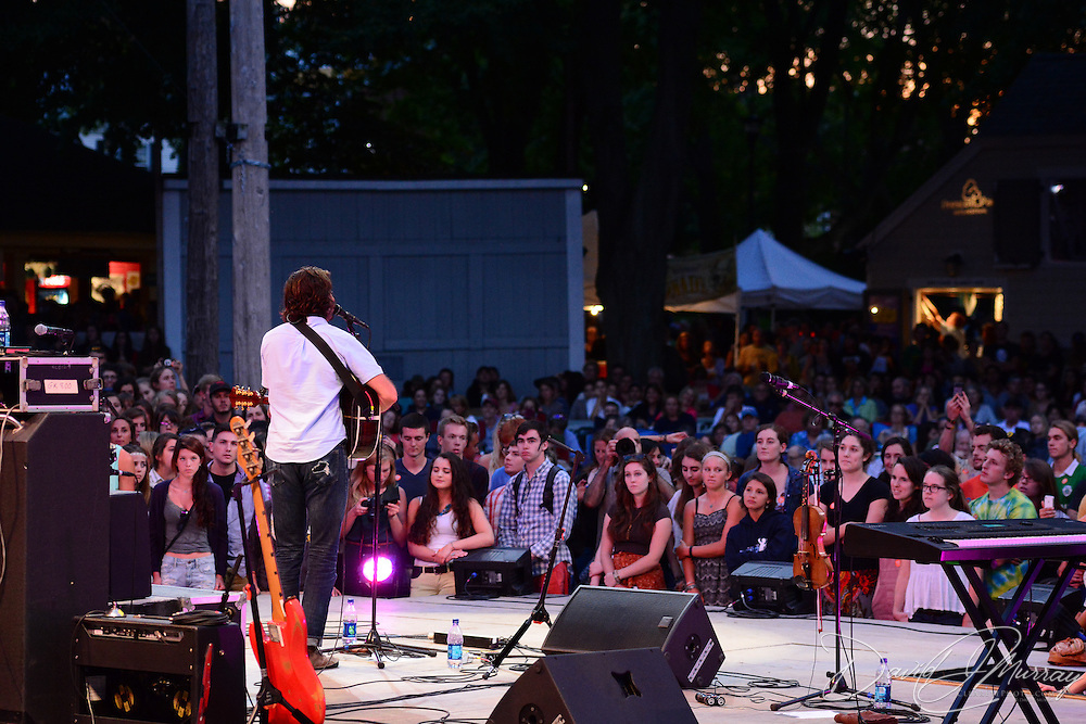 Jonathan Russell, of The Head and the Heart, performs in a Prescott Park Arts Festival presentation at Prescott Park in Portsmouth, NH, in July 2013